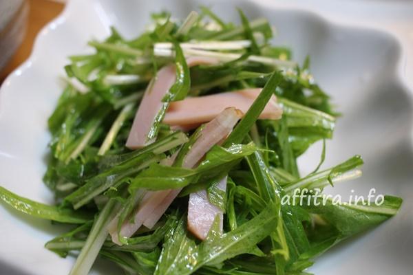 水菜とハムのドレッシング